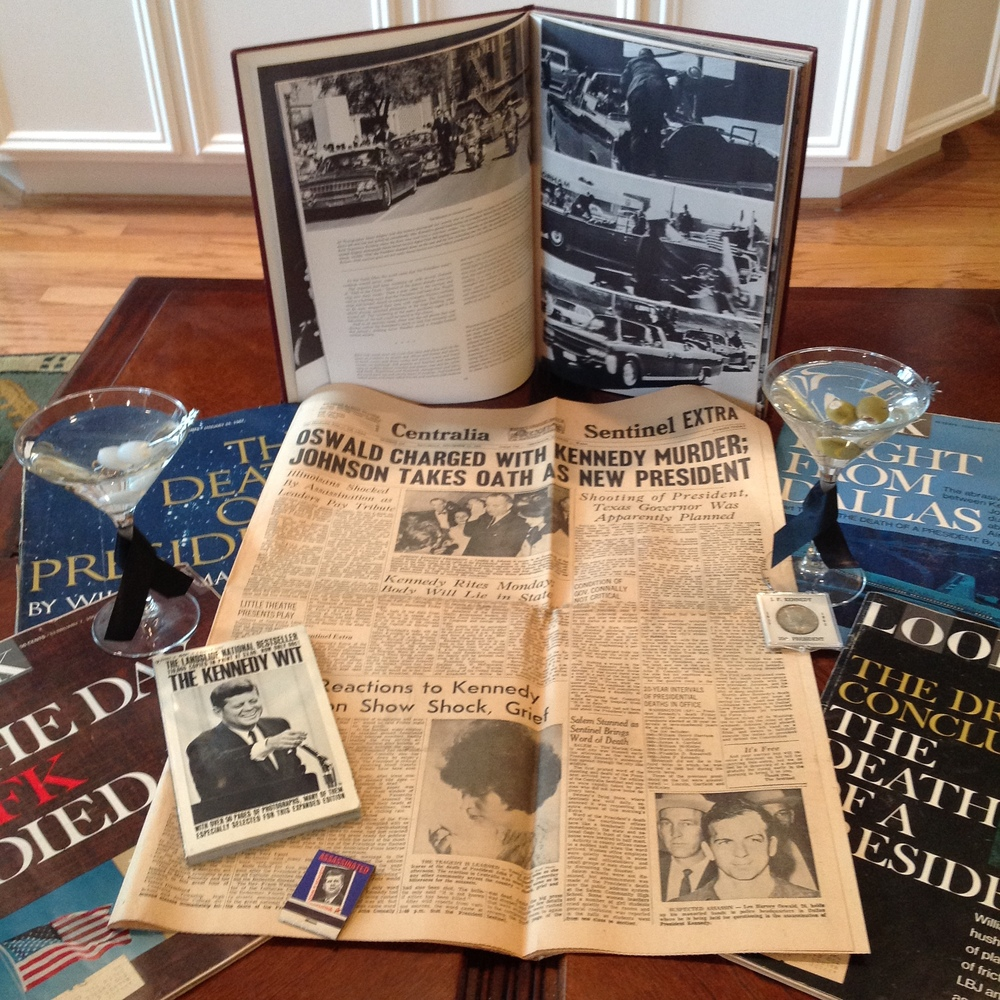 This is some of my memorabilia (sans martinis) that I saved as a kid after the JFK assassination.