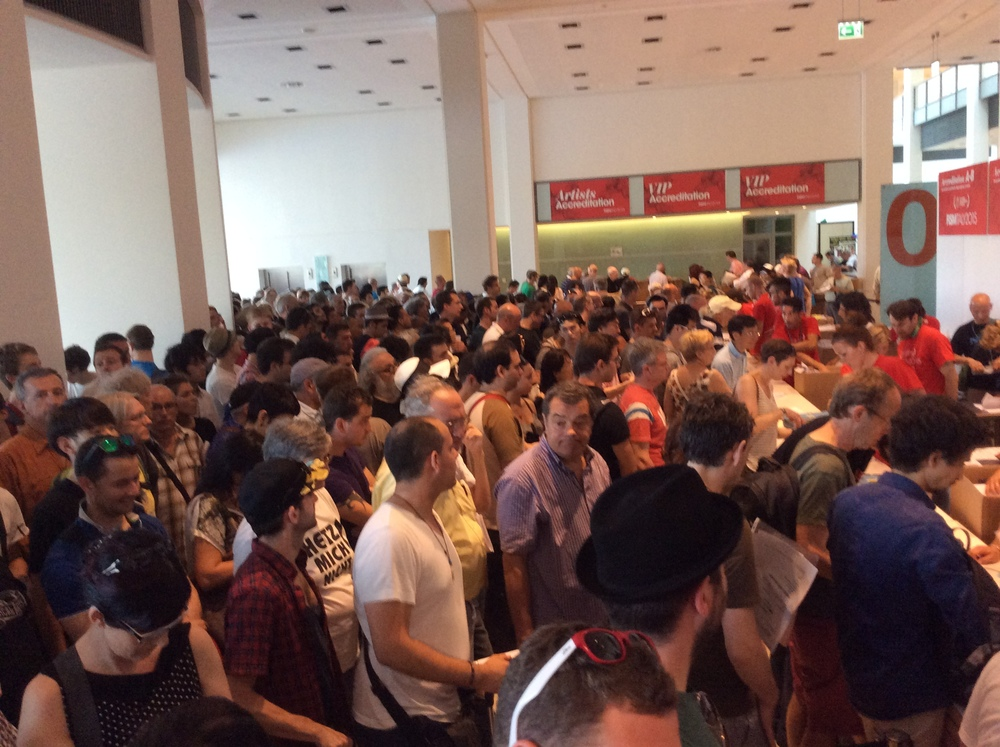 Some of the 2,000+ magicians trying to get their registration packets