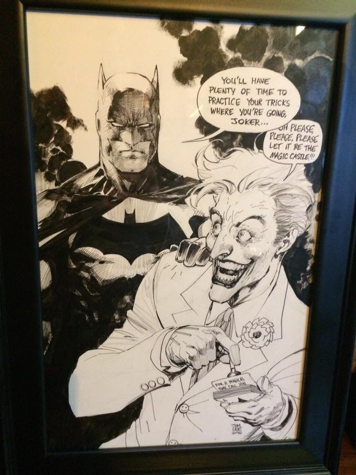 Original Batman art by Jim Lee featuring the Joker doing a Jon Armstrong trick
