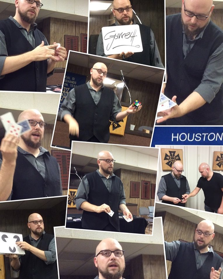 Collage of photos from Garrett's lecture in Houston, Texas