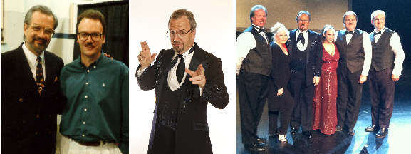Left: Harry Blackstone Jr. & David Charvet - May, 1996. Center: Charvet as Blackstone in his original costume. Right: The cast who recreated the Buzz Saw Illusion - Allen Bracken, Gay Blackstone, David Charvet, Melanie Kramer, Bill Smith, Ron Anderson. Orleans Theater, Las Vegas. August, 2011.