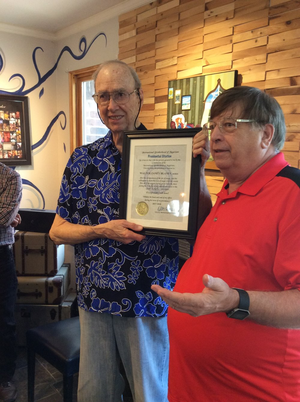 David Hinkin Presenting the I.B.M. Presidential Citation to Walter