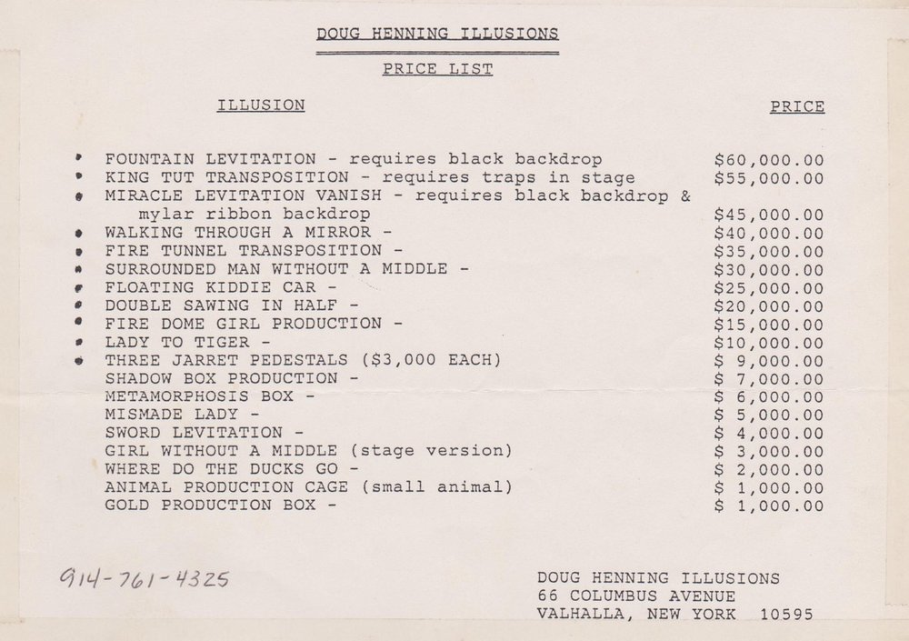 Price List of Henning Memorabilia 1989