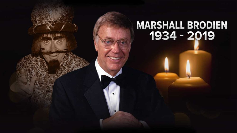 For more about Marshall Brodien, click on the graphic above to visit the blog with video, photos, and a podcast. And for his obituary written by his lovely bride, Mary,  Click Here .