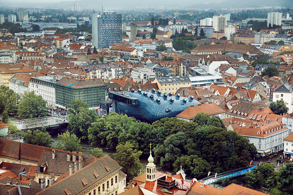 "Kunsthaus Graz (Graz Art Museum) or ""potato"" designer by Peter Cook and Colin Fournier. Apparently there's a whole style of architecture called ""blob architecture""."
