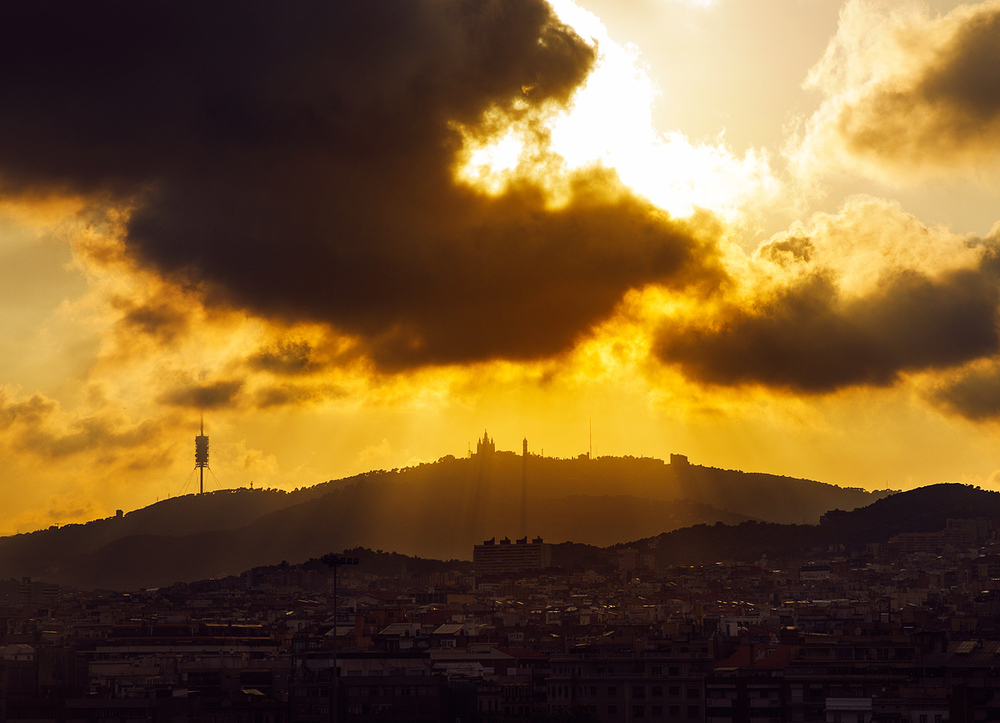 View of Tibidabo on the sunset