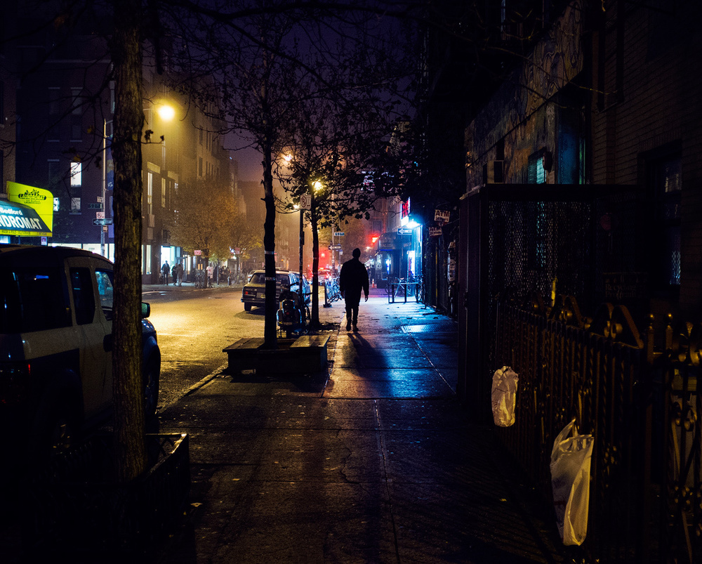 Bedford avenue at night. Fuji X100.