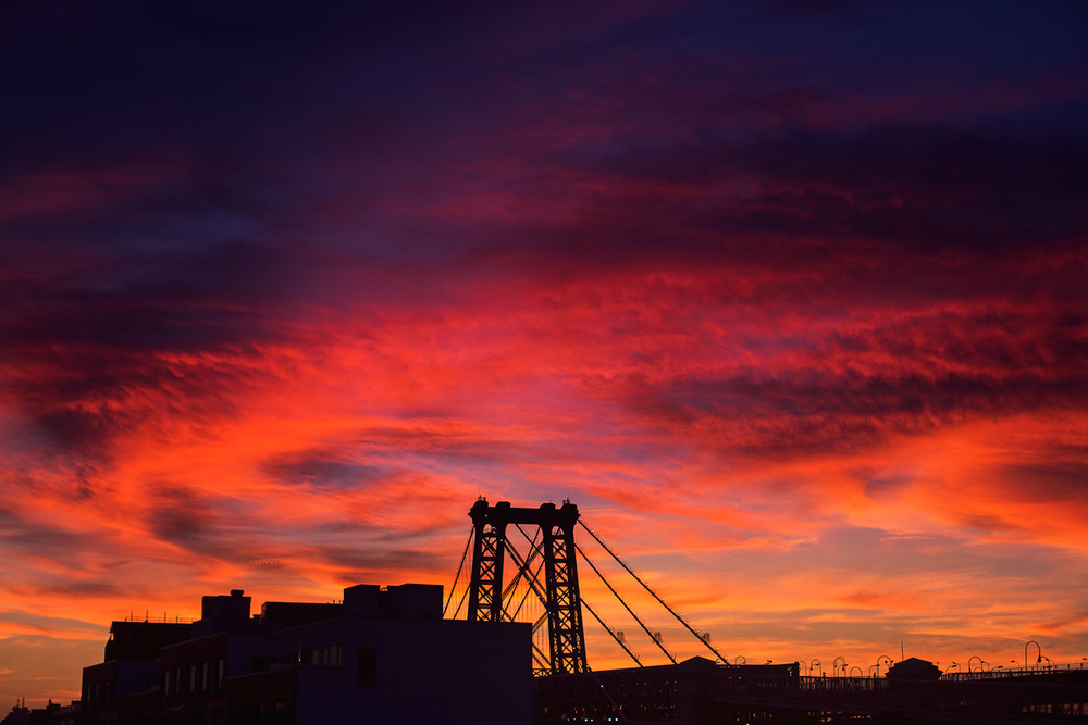 Williamsburg Bridge at sunset. Canon 5D Mark III.