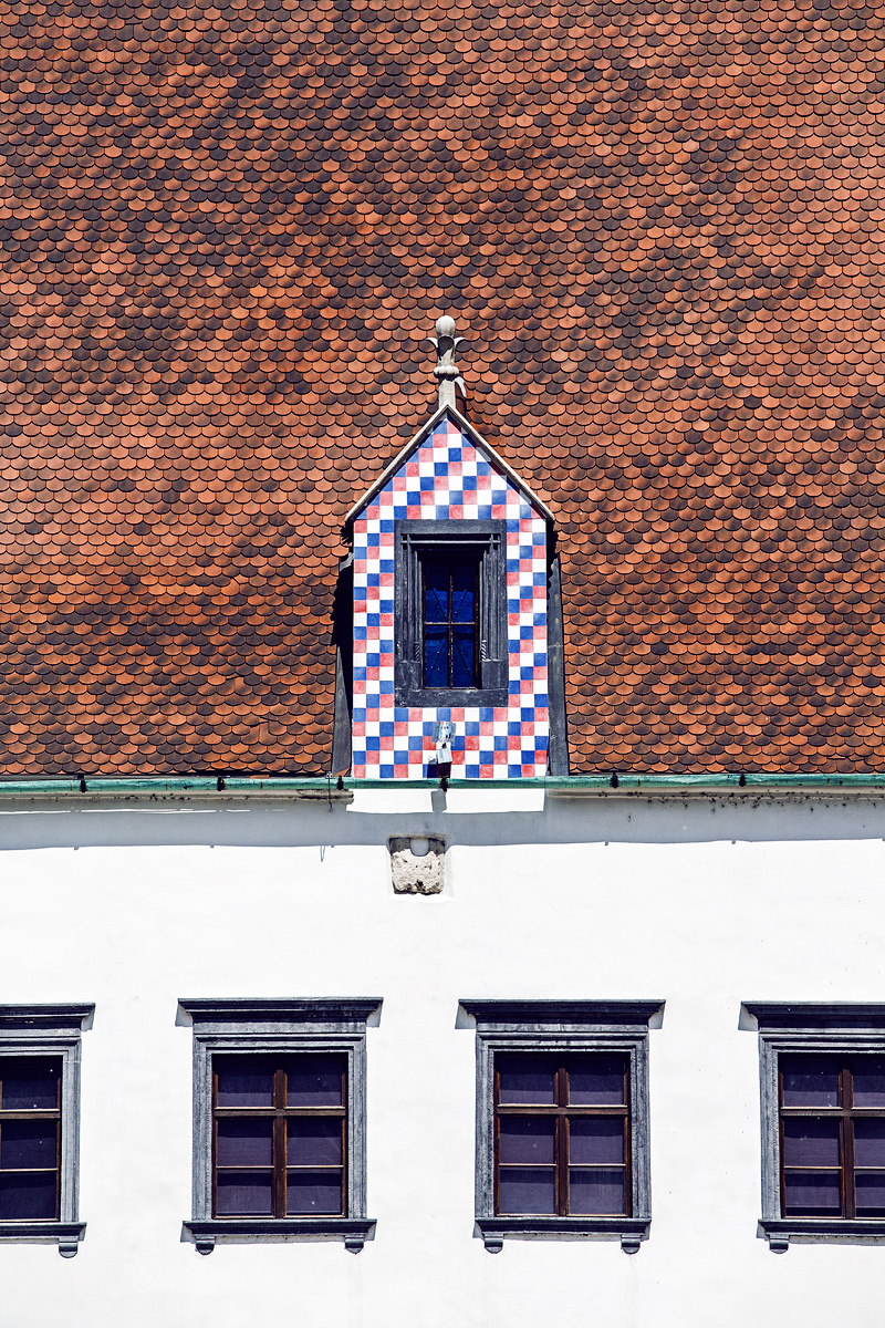 Old town in Bratislava. Love the red/blue/white checker pattern!