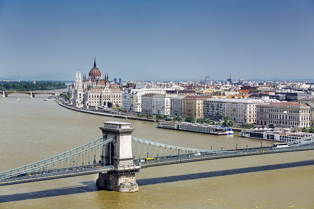 View of Danube river and Pest side of the city with Chain Bridge.