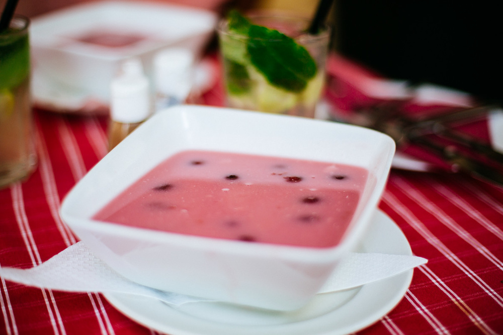 """Hideg meggyleves"" Hungarian sour cherry soup. A must to try when there."