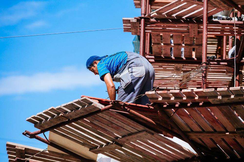 Construction worker on Nevsky Avenue