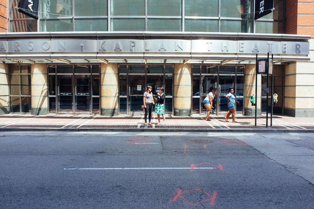 Irene and Yuko infront of Kaplan Theater