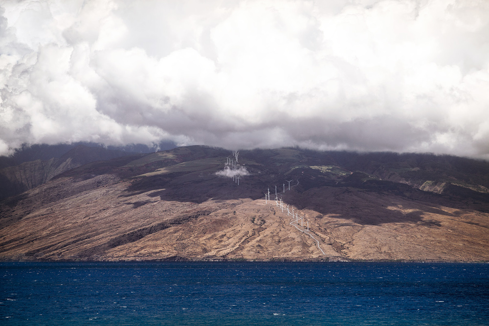 Windmill farm under clouds on West Maui side