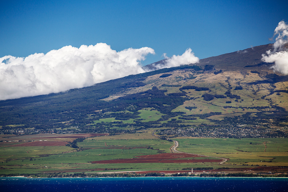 View of Kahului airport and Makawao up the mountain on East part of Maui island.