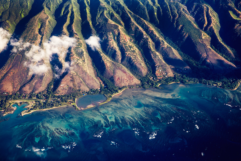View of Molokai Island form the plane that is situated between Oahu and Maui