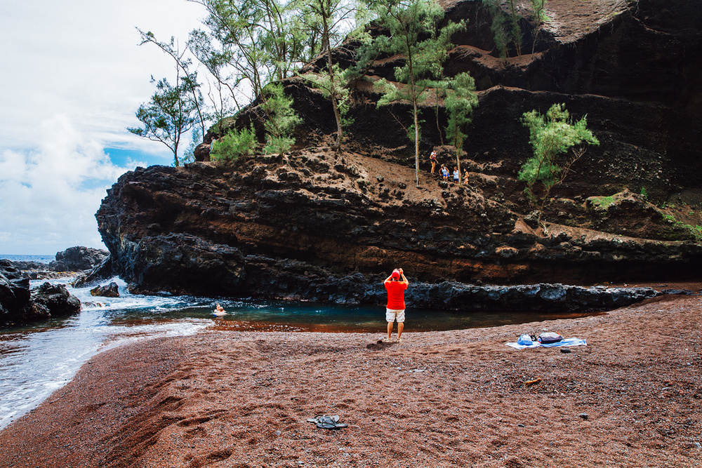 One of the most beautiful beaches I've see. Red Beach in Hana, Maui.