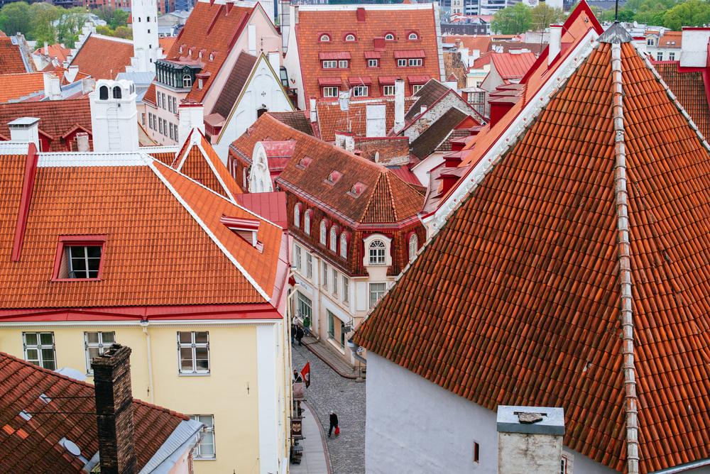 View of Pikk St form upper Old Town, Tallinn.