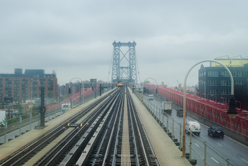 J train over Williamsburg Bridge.