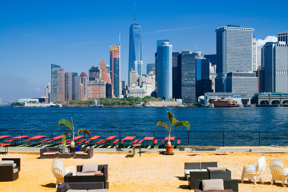 Quite a view of Manhattan from a fake beach on Governors Island.