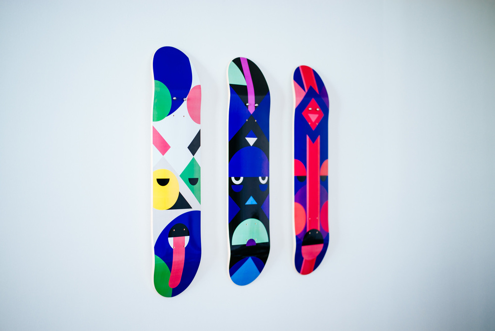 Printed new skateboards.  Read earlier blog post  about creating African Masks decks.