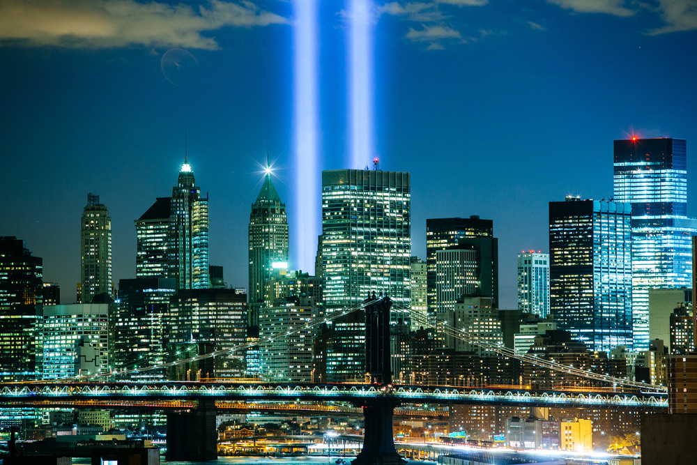 9/11 lights over Downtown Manhattan
