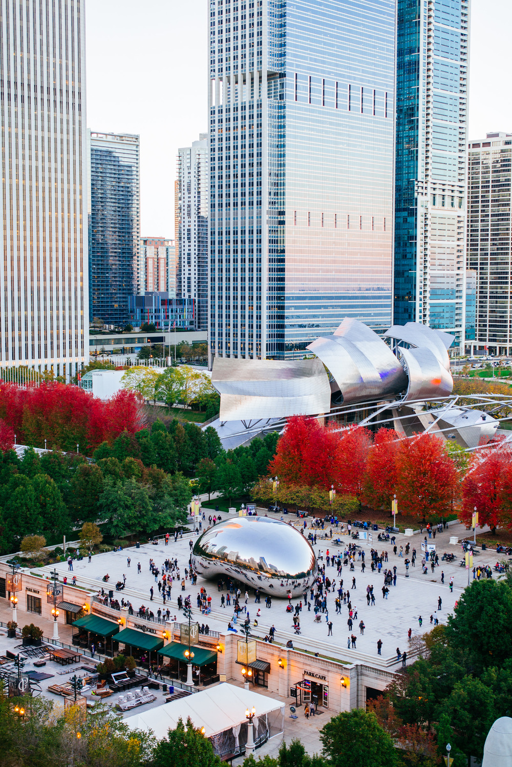 Chicago Millennium Park and it's centerpiece the Cloud Gate, or simply known as The Beat designed by Anish Kapoor.