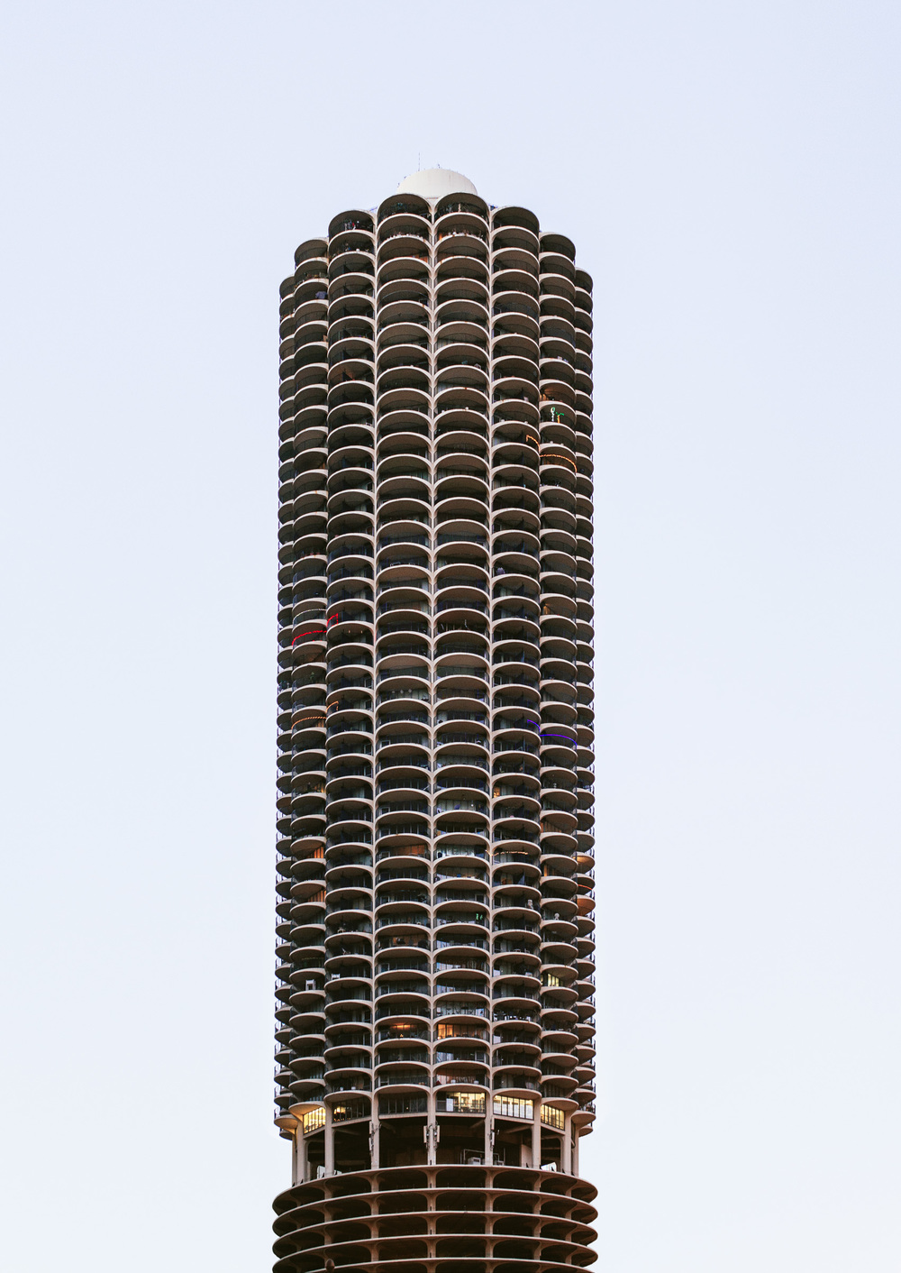 Marina City, famous two corncob-shaped twin buildings.