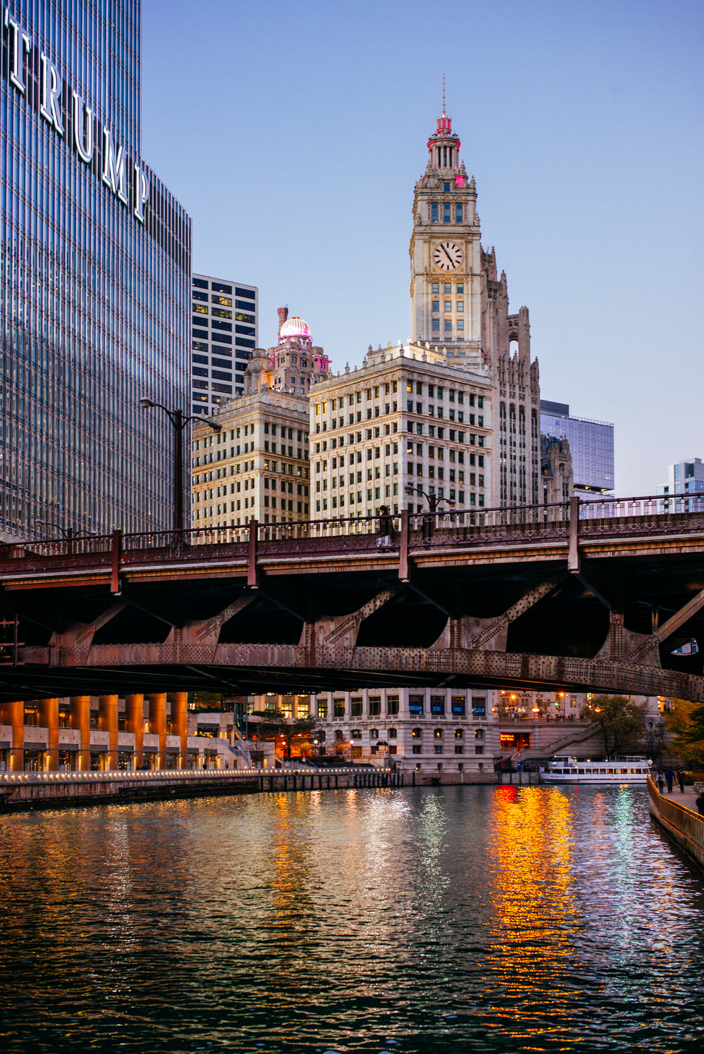 Wrigley Building and Irv Kupcinet Bridge