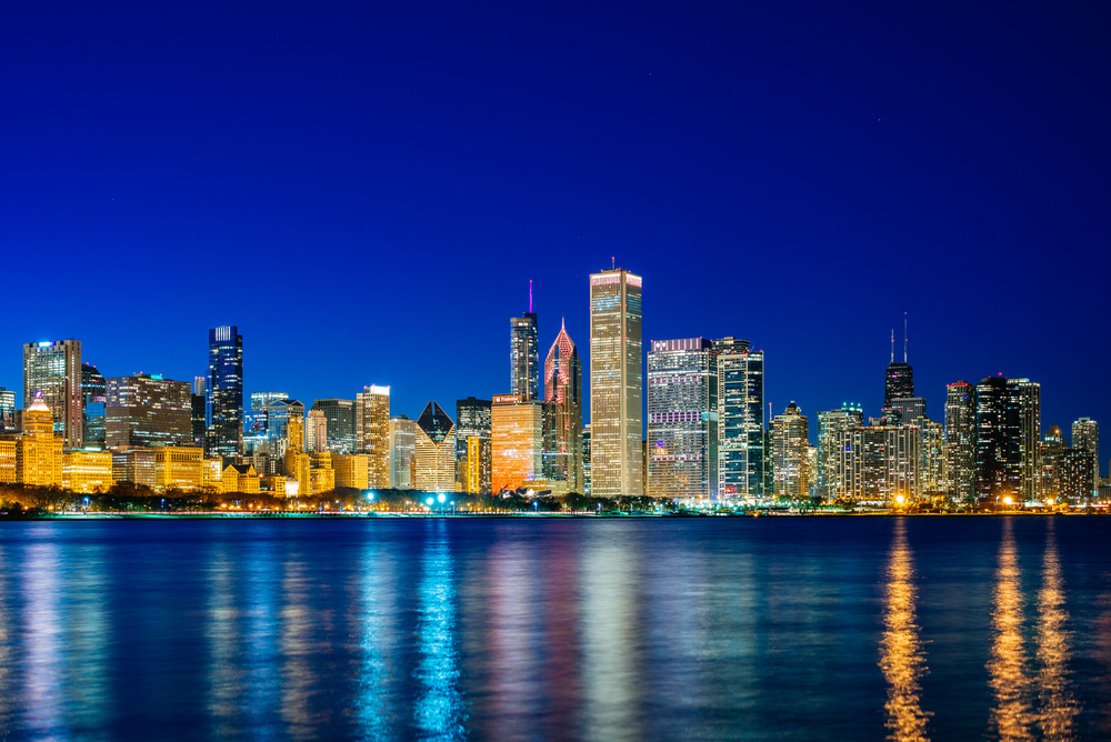 Skyline of Chicago at night from Adler Planetarium