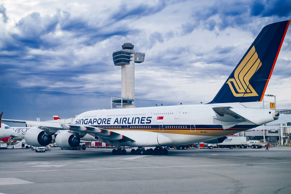 Singapore Airlines A380 in JFK Airport, New York. The photo was taken while being on an airport bus getting to an aircraft to board.