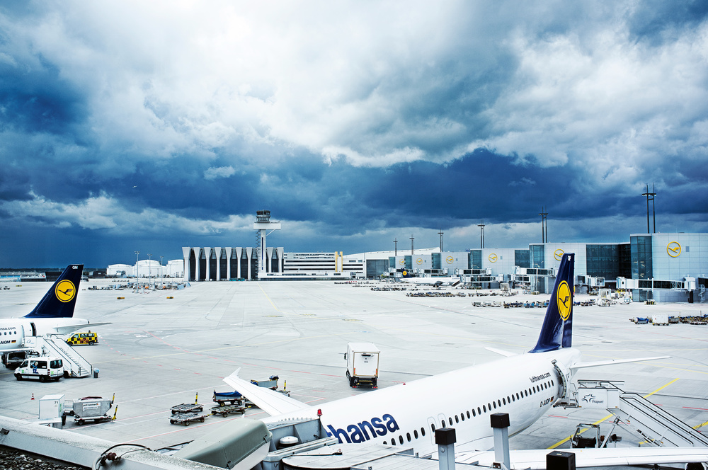 Frankfurt Airport, Germany. The photo was taken through the window at the airport.