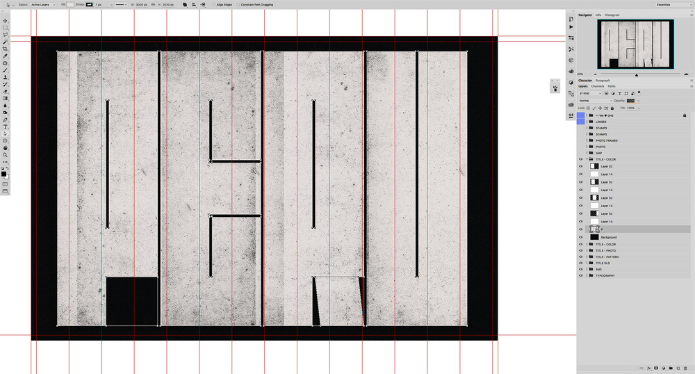 Grid and letters set up in Photoshop.
