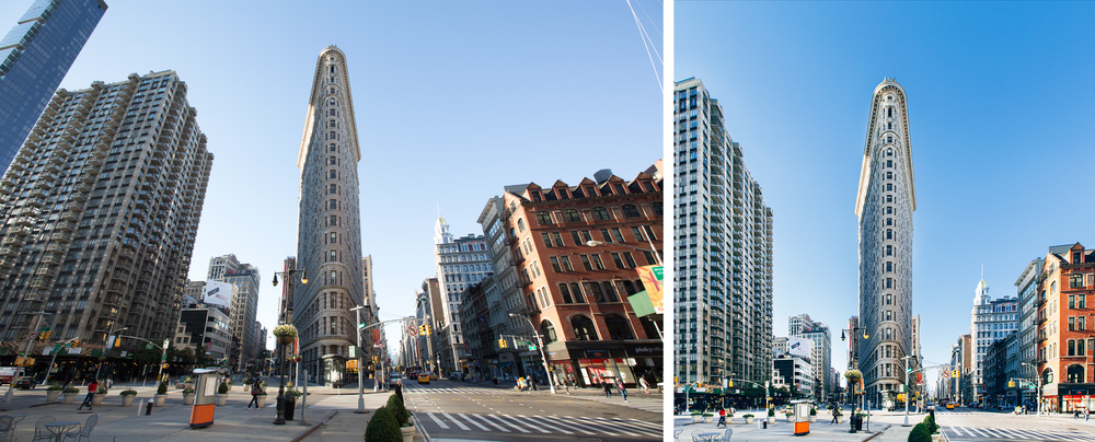 Flatiron Building photographed with wide angle and then with perspective correction.