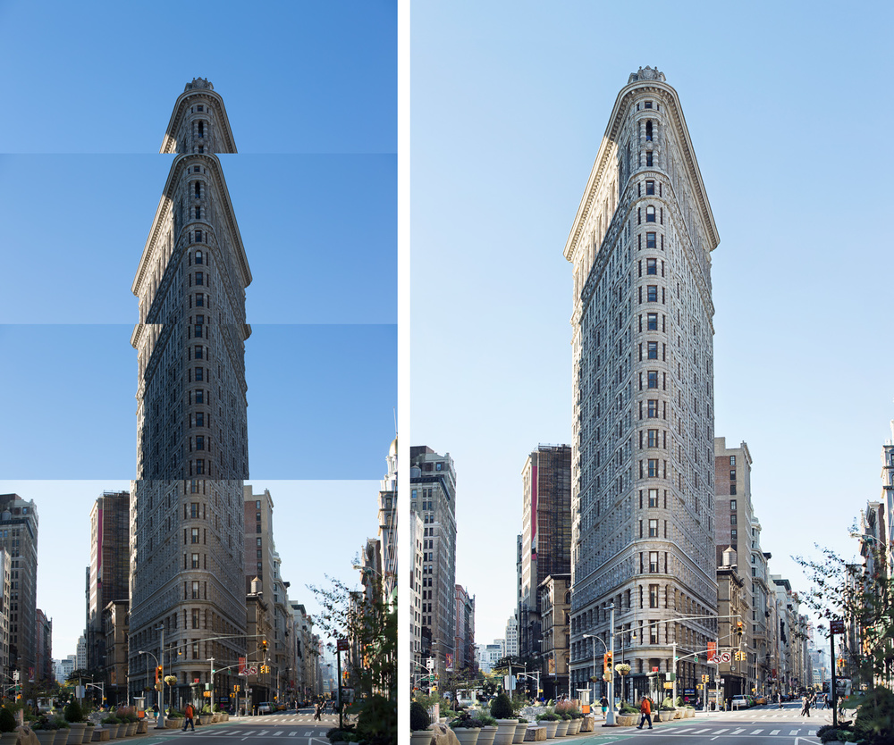 Image of Flatiron Building captured from the distance with zoom lens. Multiple images were taken and then stitched together.