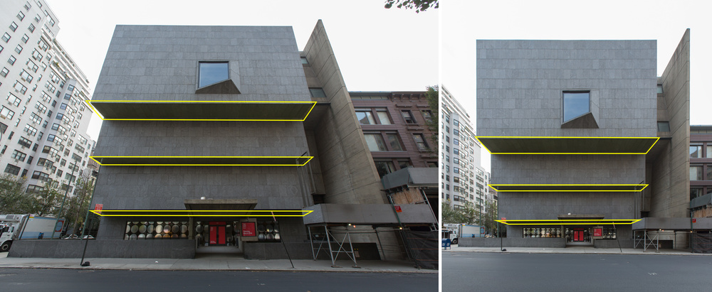 Breuer Building example. The higher the sticking out object, the more you see it's surface.