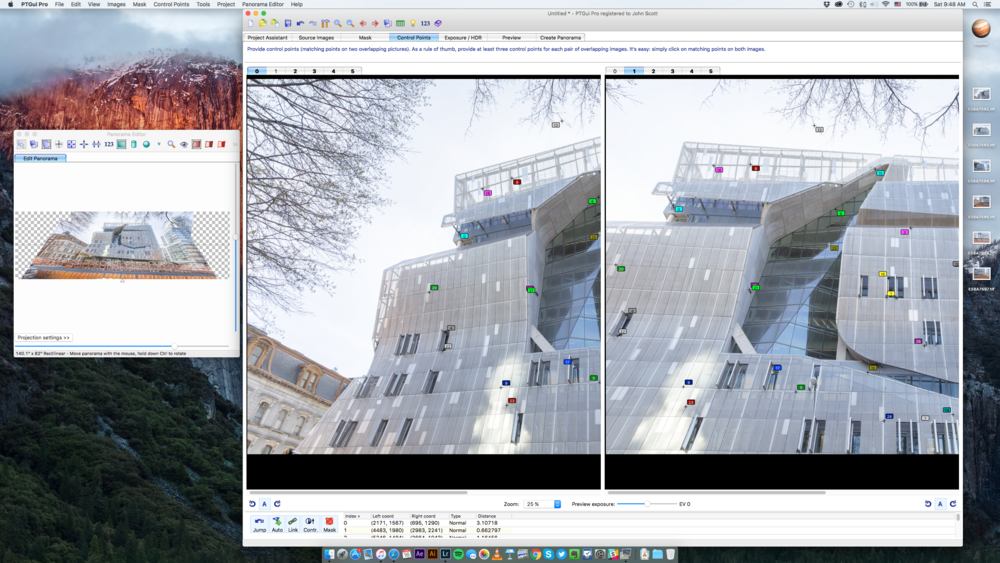 Stitching Cooper Union building using PT Gui.