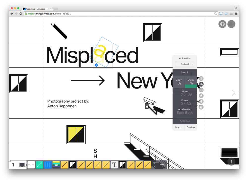 Screenshot of   ReadyMag   editor view building Misplaced Series cover page with animations.