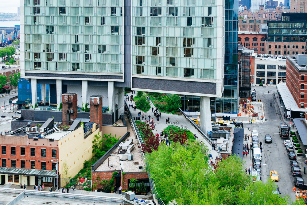 Standard Hotel land the Highline Park in Meatpacking from Whitney Museum of Art, Manhattan, New York.