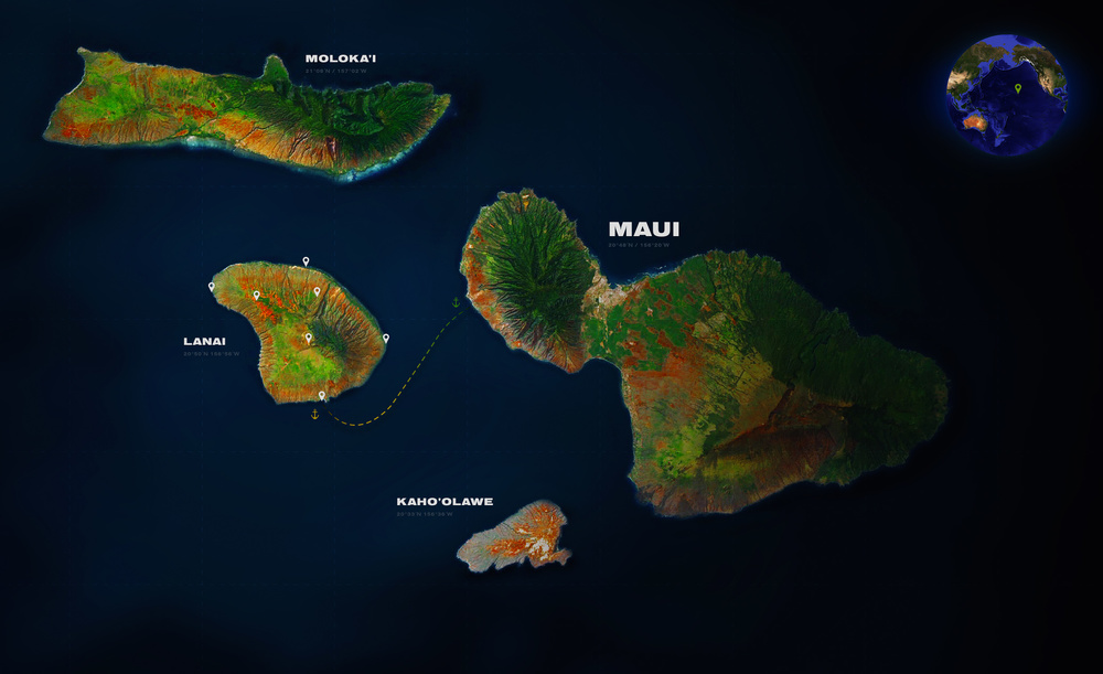 Map of Maui County that consist of 5 islands. Click to enlarge the map