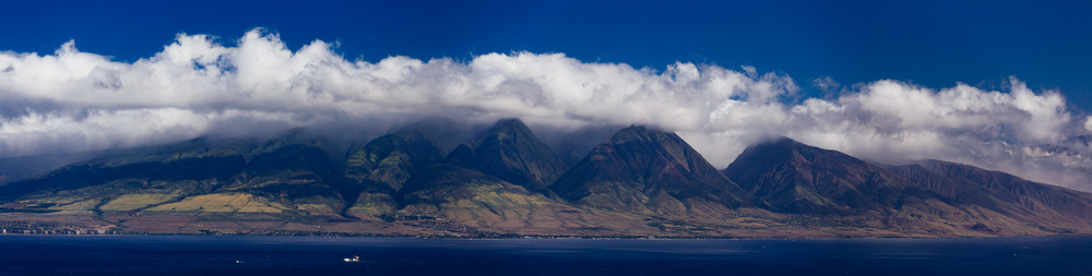 View of Western part of Maui Island and Lahaina in the middle.