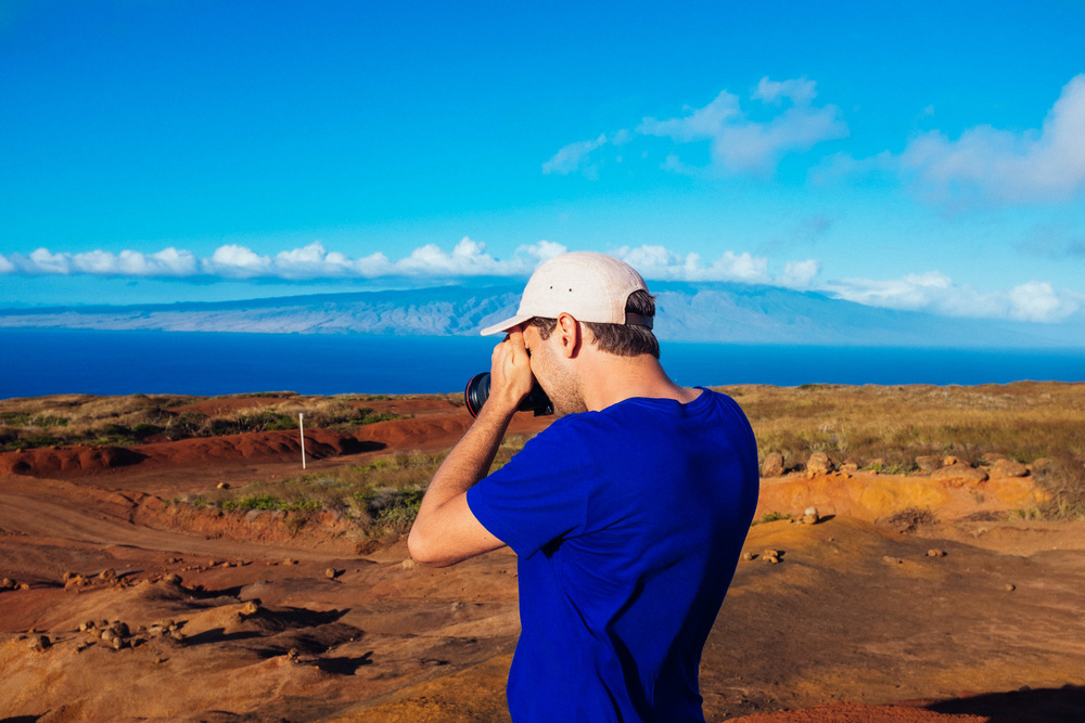 Me taking photos of landscapes in Lanai island, Hawaii.