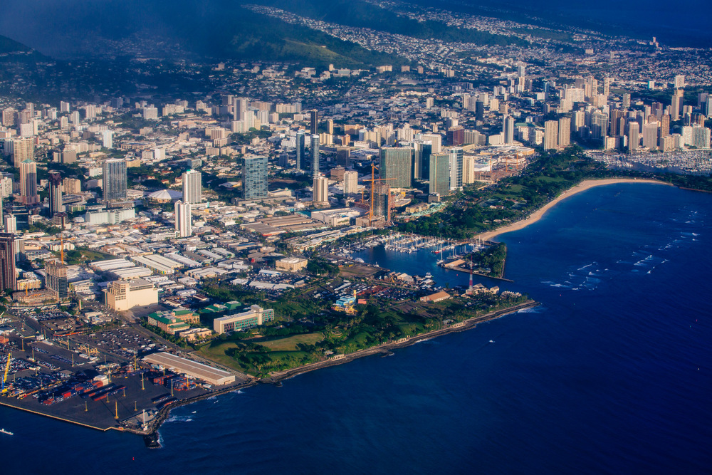 Flying over Honolulu, Oahu Island