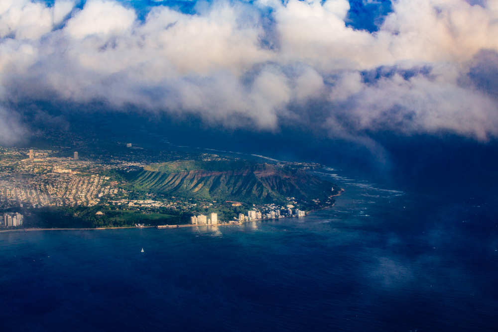 Flying over Oahu Island