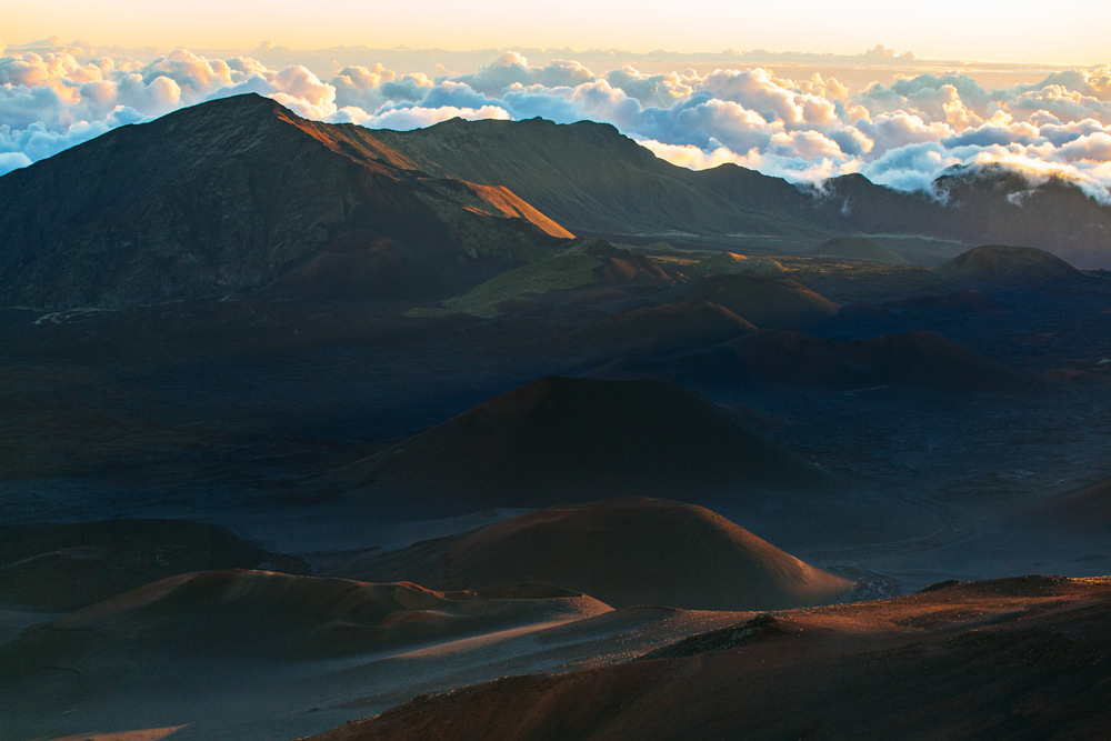 Panoramic view of Haleakala Volcano craters