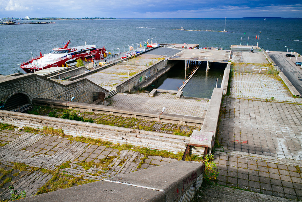 Linnahall with helipad and boats departing to Helsinki, Finland