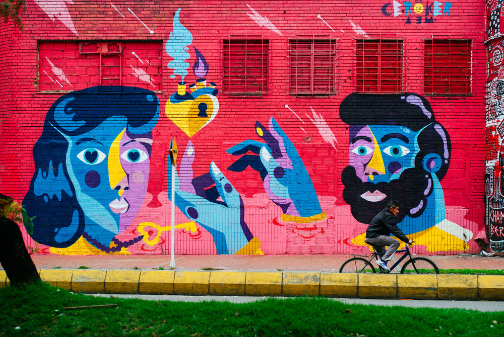 One of many murals by  Ceroker  in Bogota