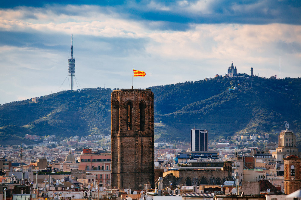 View of Torre de Collserola and Temple Expiatori del Sagrat Cor