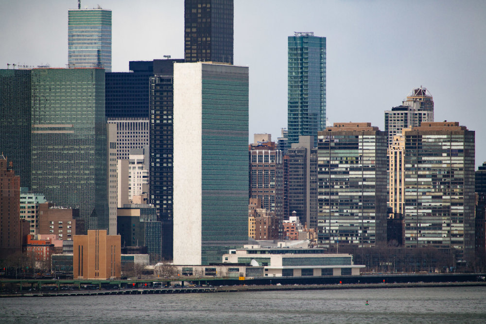 The United Nations building on East river