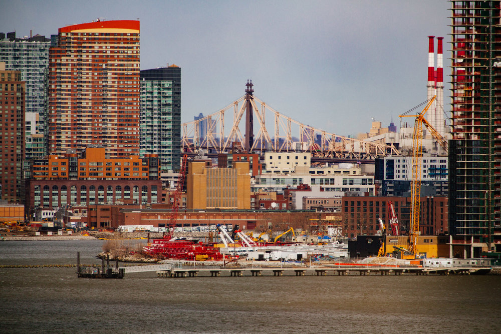 Northern tip of Brooklyn with Greenpoint and Queens.